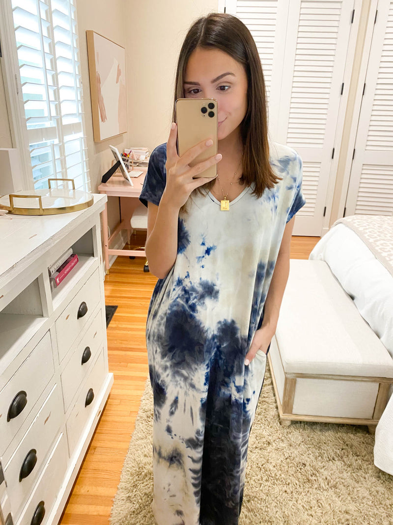 No Secrets To Be Told Tie Dye Dress - Blue