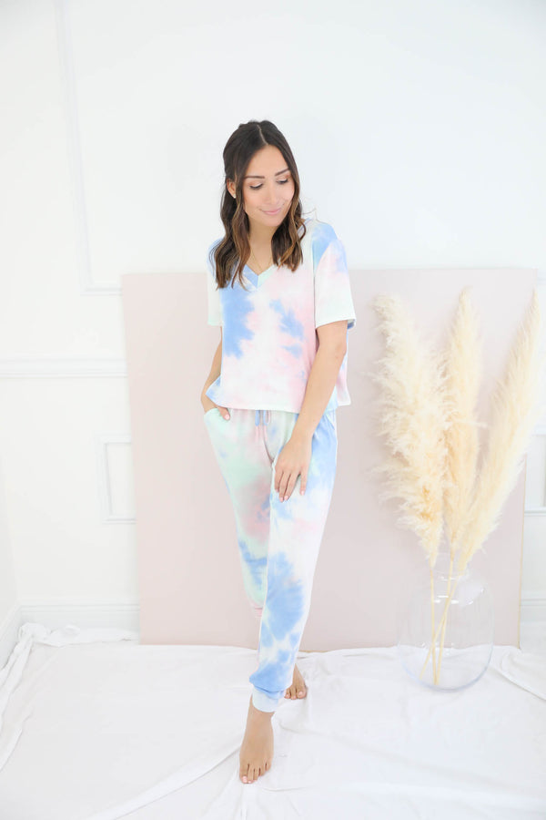 Over The Rainbow Pants Set - Blue
