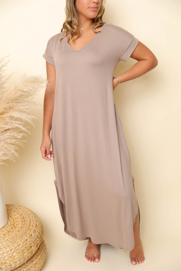 Let's Get Away Grey Midi Dress
