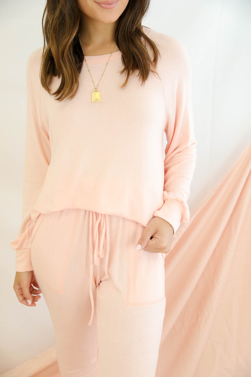 Sweet Dreams Peach Loungewear Set
