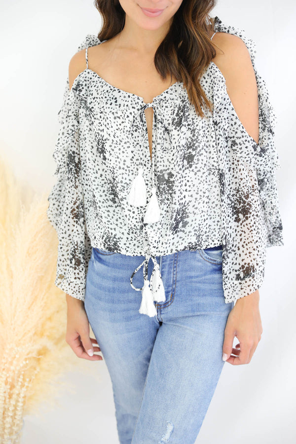 Raquel White Printed Top