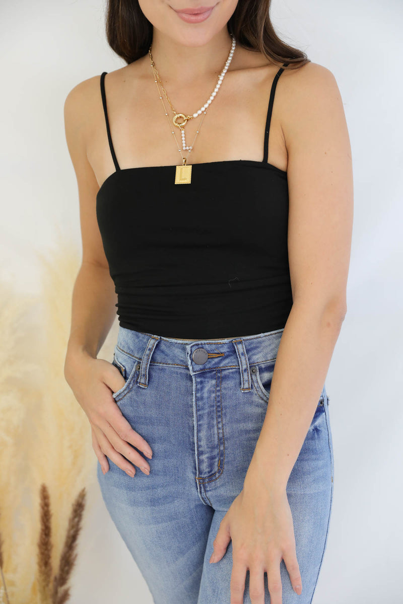 Giselle Cami Crop Top - Black