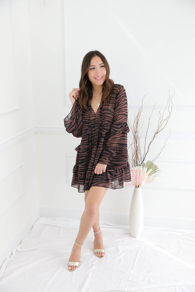 Learning To Love Babydoll Dress - Zebra