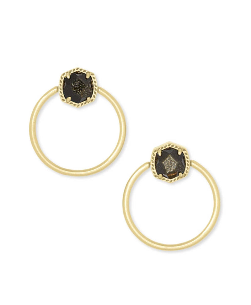 Kendra Scott Davie Hoop Earrings in Golden Obsidian
