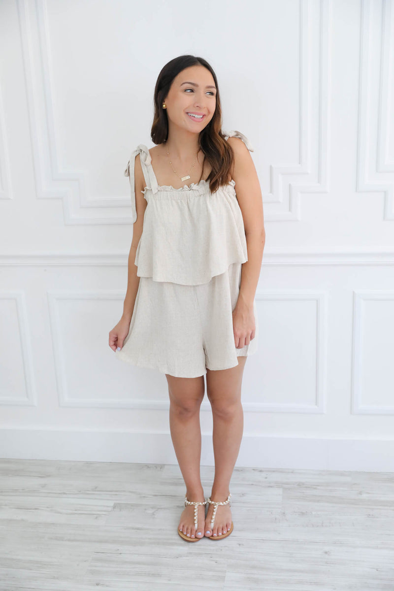 Under The Miami Sun Linen Romper