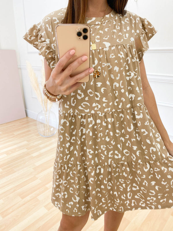 Grand Gestures Ruffle Dress - Beige Leopard