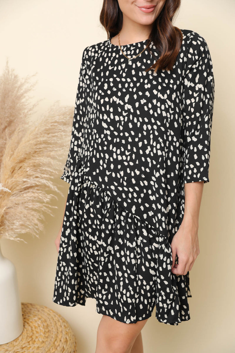 Just Show Up Black Printed Dress