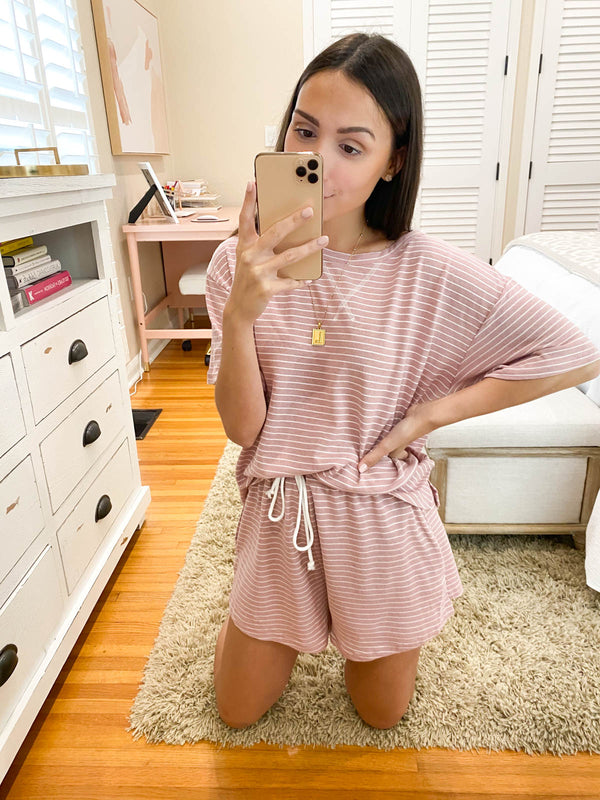 When You Know, You Know Striped Set - Blush