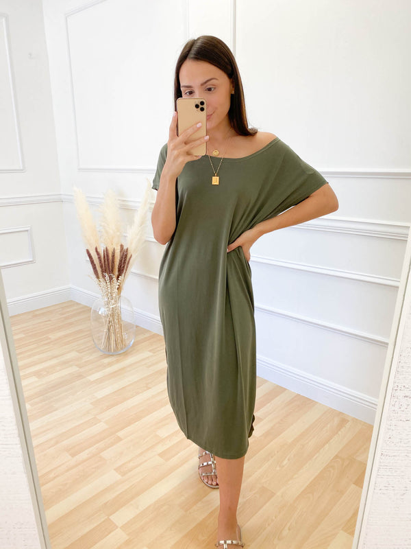 The Low Down Midi Dress -  Olive