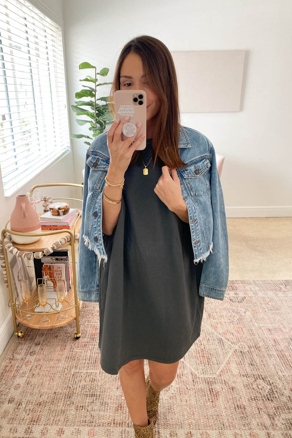 The Riley Charcoal T-Shirt Dress