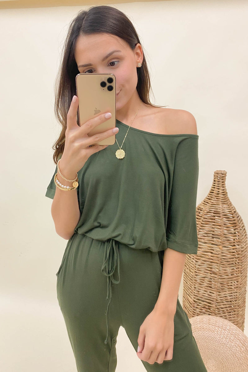 Think About It Olive Jumpsuit