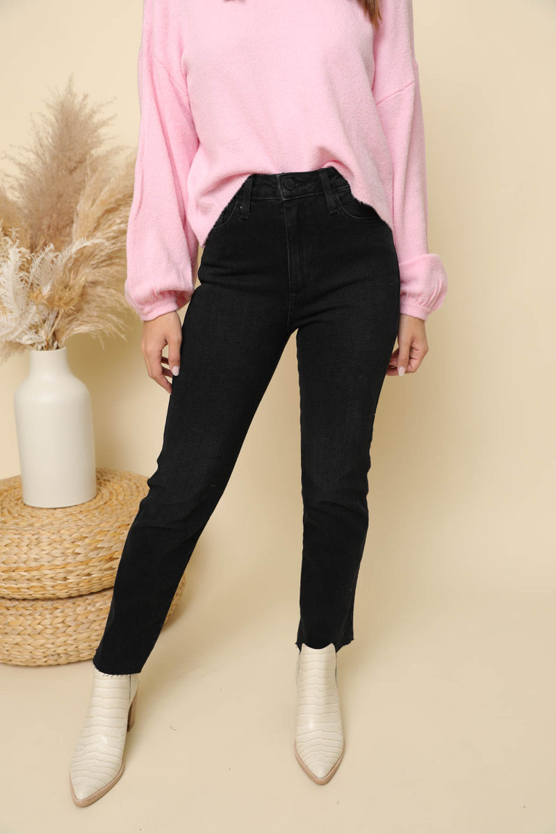 Madelyn Black High-Rise Straight Jeans