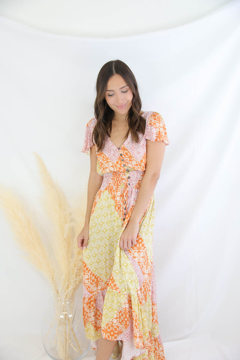Lean On Me Printed Maxi Dress - Orange