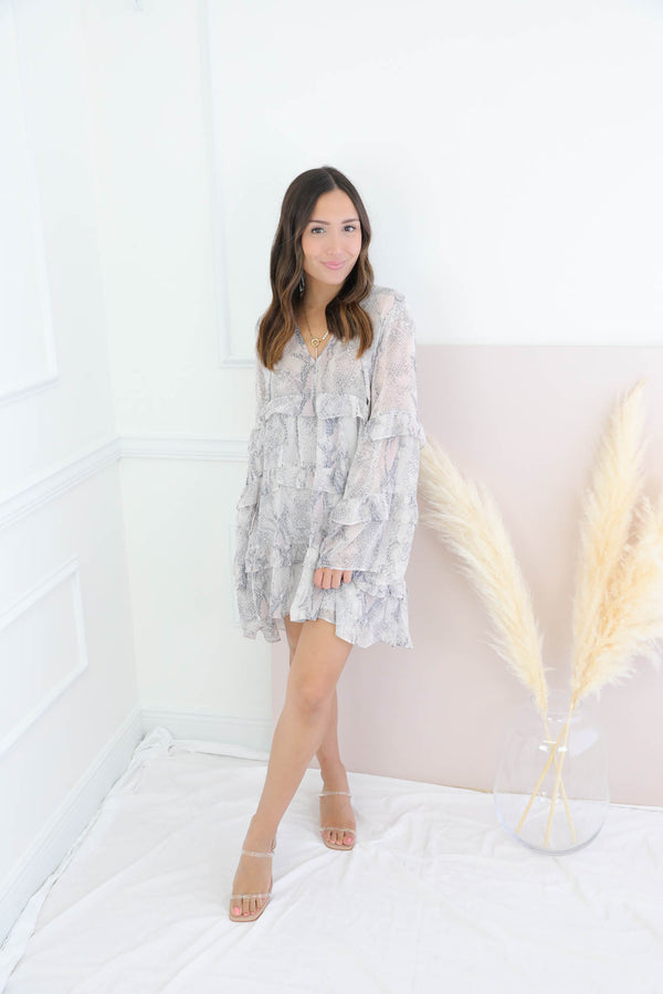 Learning To Love Grey Snakeskin Dress