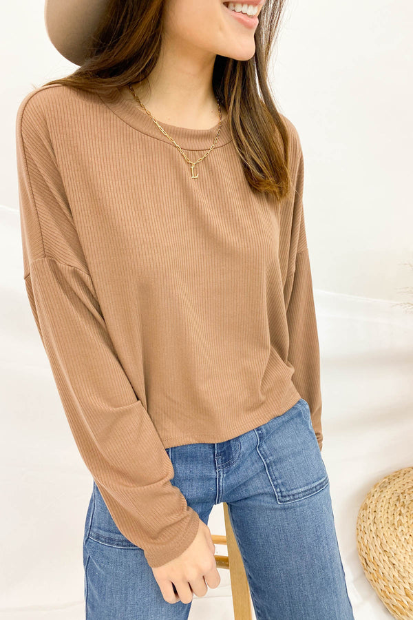 Laguna Beach Mocha Ribbed Sweater