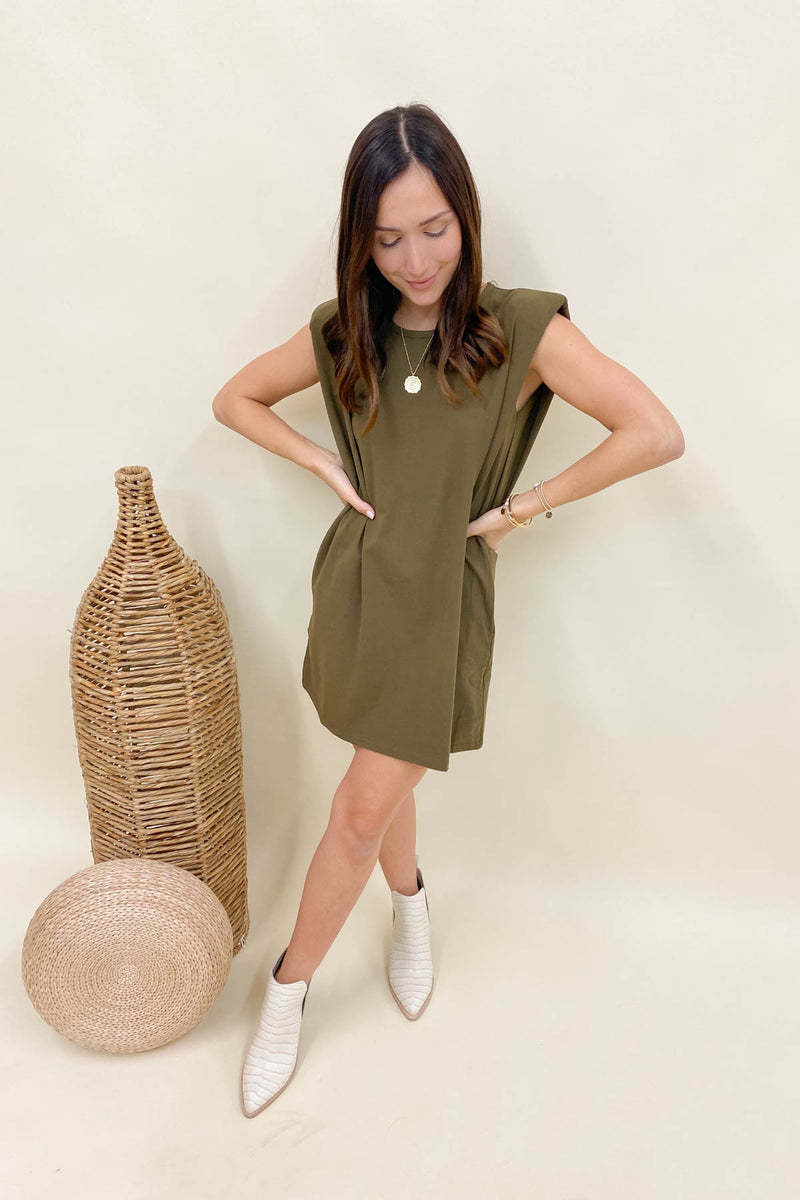 Lola Olive Muscle Shirt Dress