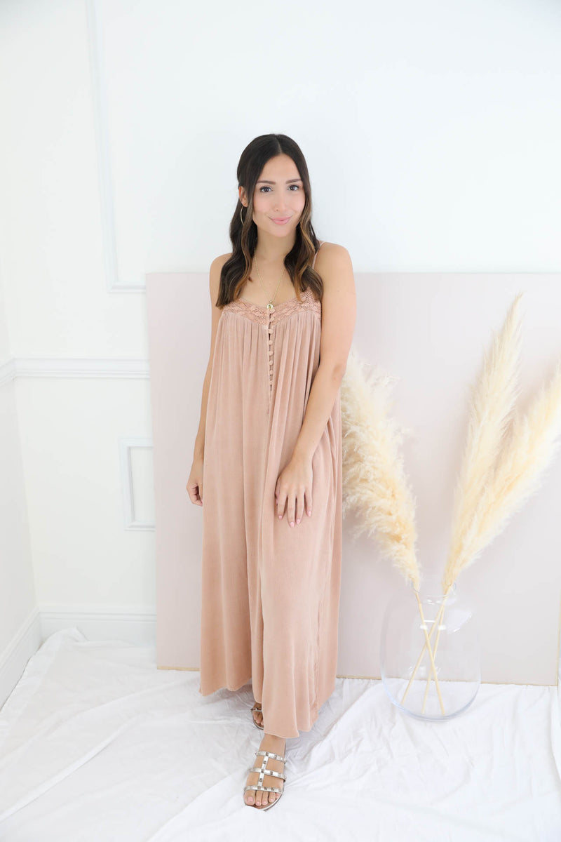 Lost Love Caramel Jumpsuit