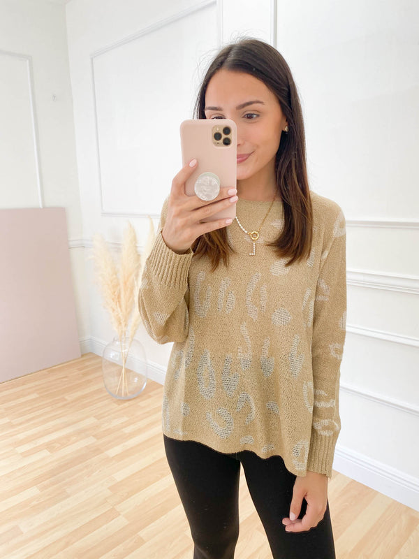 It's A New Dawn Leopard Sweater - Taupe