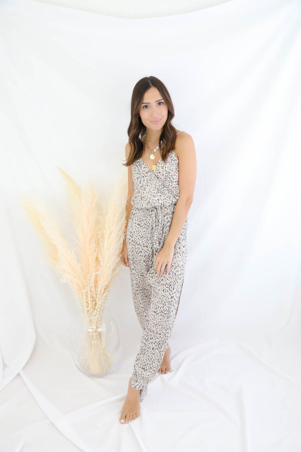 Pull Me Closer Printed Jumpsuit - Blush