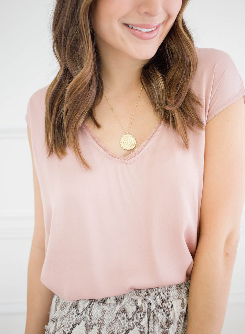 Just Go With It Frayed Top - Blush