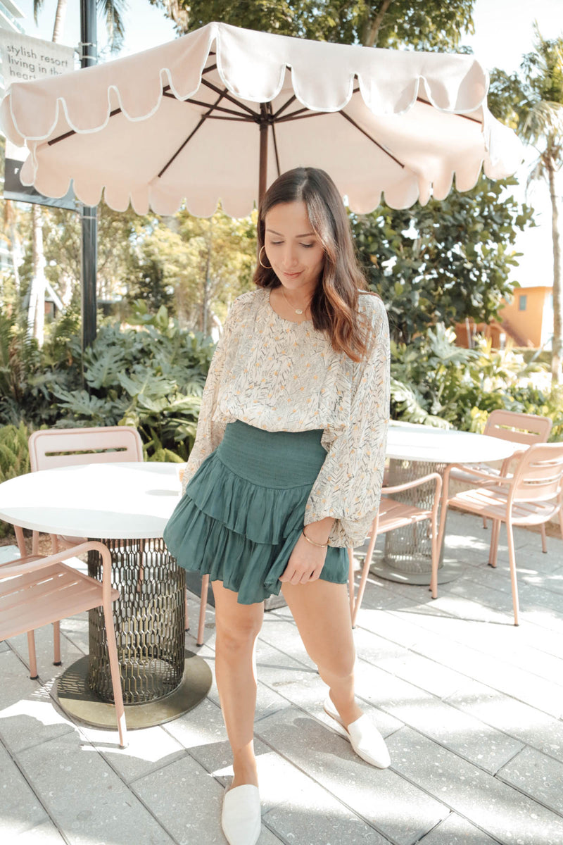 The Show Goes On Emerald Ruffle Skort
