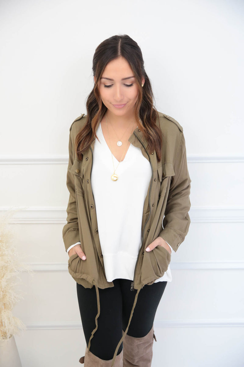 Perfect Sunrise Cargo Jacket - Olive