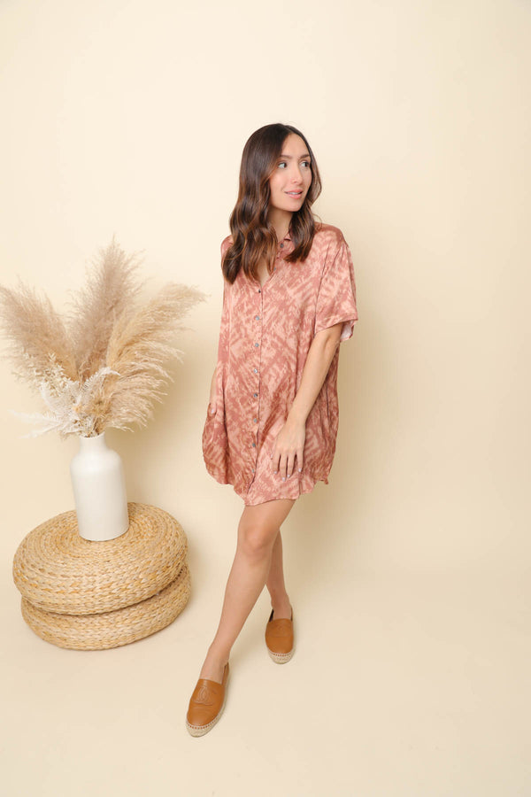 Meet Me At The Top Rust Shirt Dress