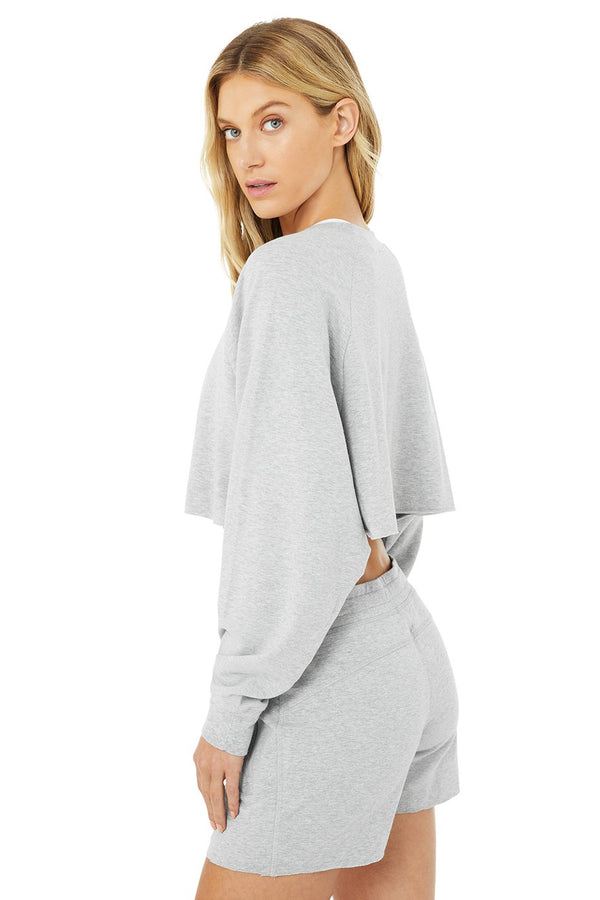Alo Yoga Grey Heather Double Take Pullover
