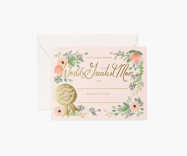 Rifle Paper Co. Greatest Mom Certificate Card