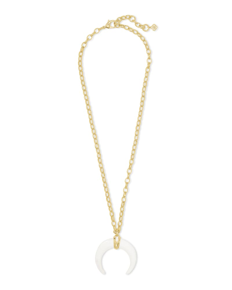 Kendra Scott White Mussel Rebecca Long Pendant Necklace