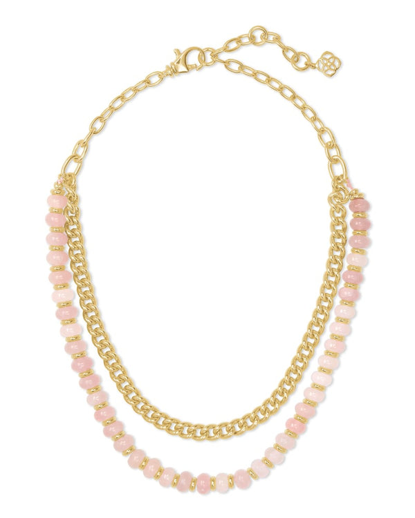 Kendra Scott Rose Quartz Rebecca Gold Multi Strand Necklace