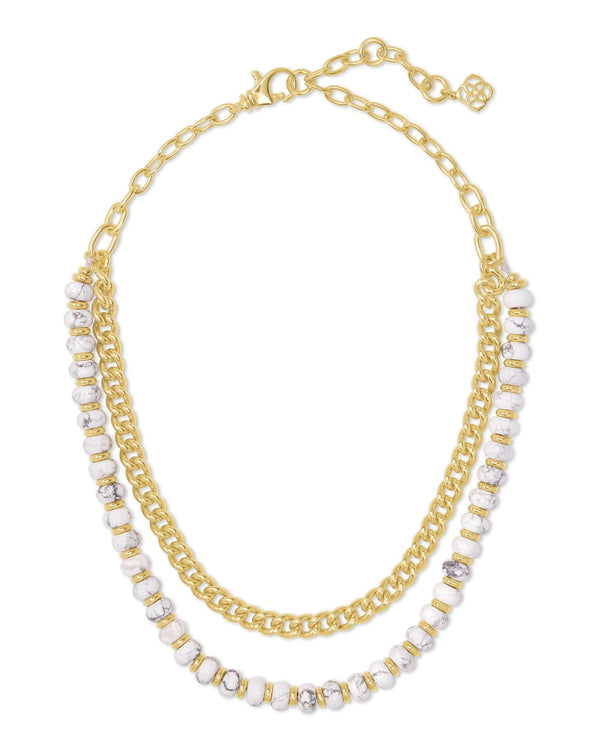 Kendra Scott White Howlite Rebecca Gold Multi Strand Necklace