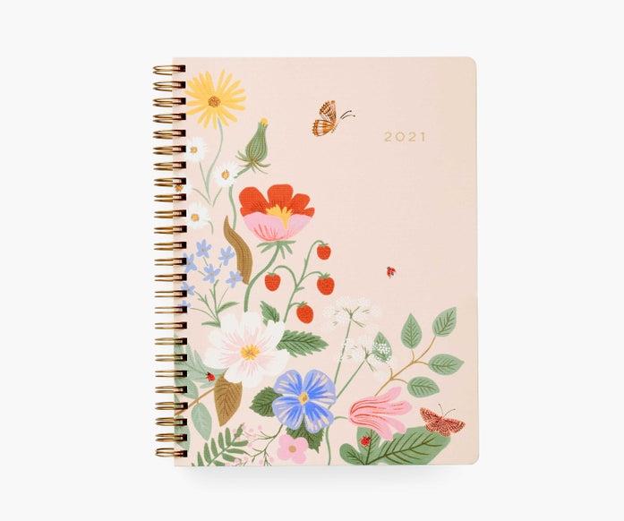 Rifle Paper Co. 2021 Strawberry Fields 12-Month Softcover Spiral Planner
