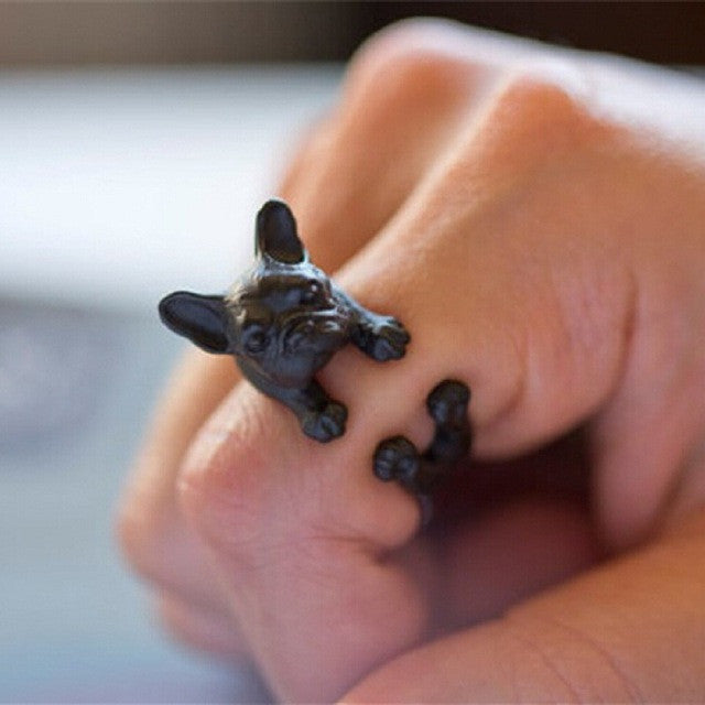 Boho French bulldog Wrap Ring