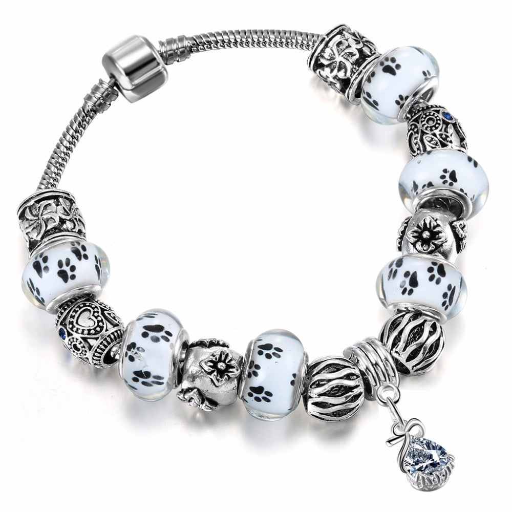 Dog paw print & flower power Glass and Crystal European Beads Bracelet