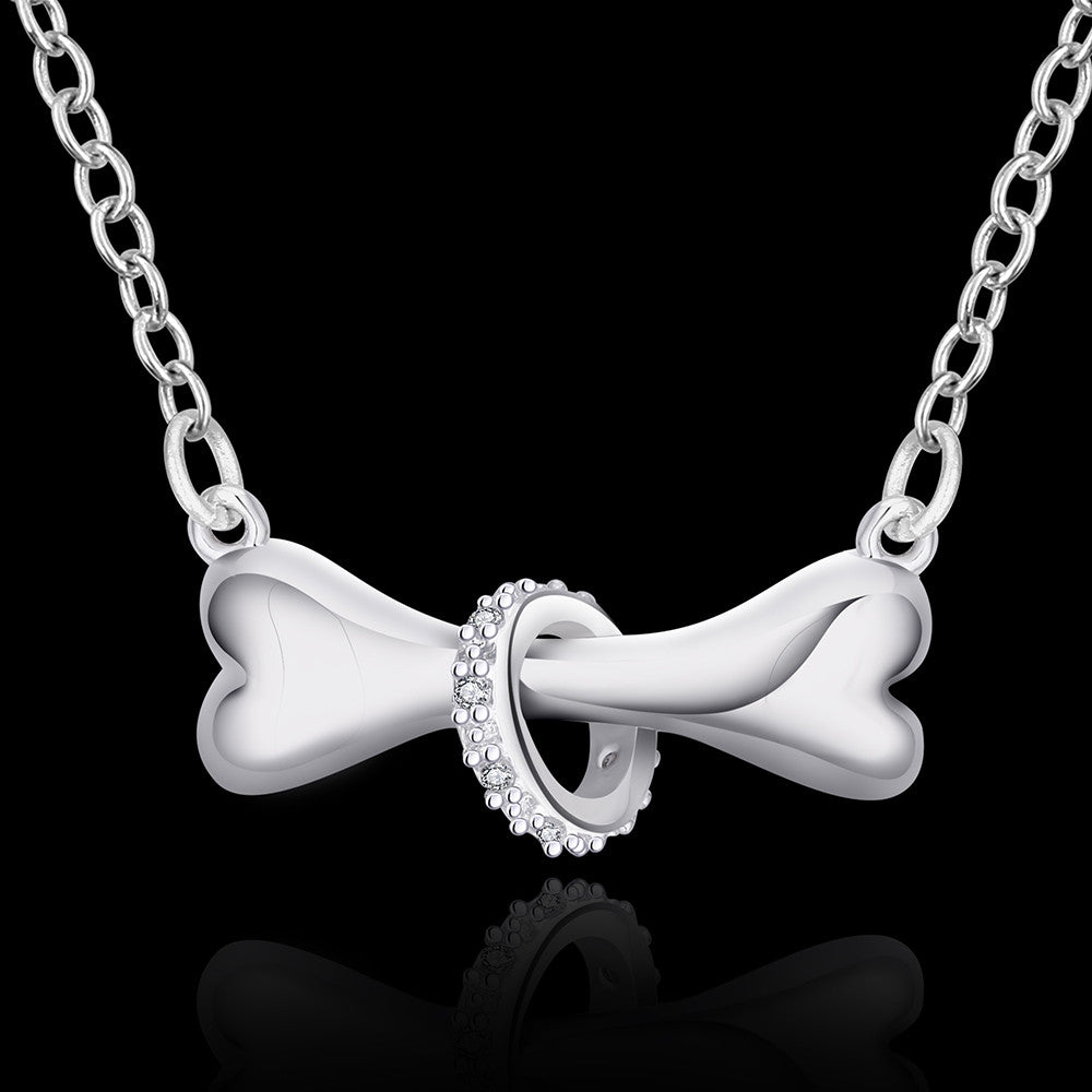 Elegant  silver plated dog bone pendant necklace