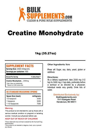 Creatine Monohydrate Powder Micronized by BulkSupplements (1 kilogram)