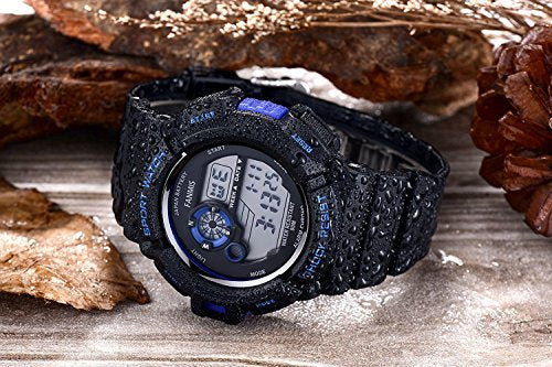Fanmis Mens Military Multifunction Digital LED Watch Electronic Waterproof Alarm Quartz Sports Watch Blue-Love My Husband Shop-Love My Husband Shop
