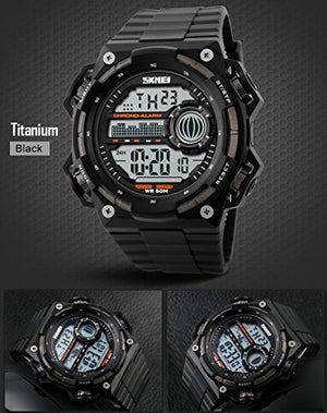 Men's Big Digital 50M Waterproof Electronic Unique Round Sport Watch Large Face Sillicone Band Heavy Duty Army Military 24H Time LED Back Light 164FT Water Resistant Calendar Date Day -Titanium Black-Love My Husband Shop-Love My Husband Shop