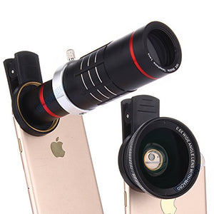 Universal 18X Zoom HD Clip On Mobile Phone Optical Camera Lens Kits,WMTGUBU Telescope Telephoto lens+15X Super Macro Lens+0.6X Wide Angle Lens for iPhone Samsung most Android Smartphones(Black)-GADGET-Amazon-Love My Husband Shop
