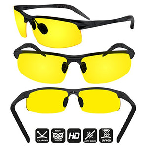 BLUPOND Night Driving Glasses - Anti-glare HD Vision - Yellow Tint Polycarbonate Lens - Safety Sunglasses for Men and Women Plus Car Clip Holder-glasses-Amazon-Love My Husband Shop