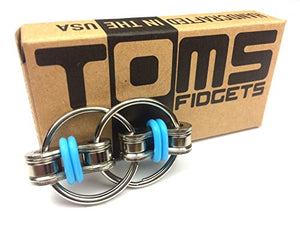 Flippy Chain Fidget Toy by Tom's Fidgets - Perfect for ADHD, Anxiety, and Autism - Bike Chain Fidget Stress Reducer for Adults and Kids - Blue-GADGET-Amazon-Love My Husband Shop