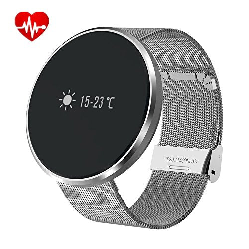 Round Bluetooth Smartwatch. Water Resistant with Heart Rate Monitor,Blood Pressure, Sleep Monitor, Pedometer, for IOS and Android Device (Noble silver)-watch-Love My Husband Shop-Love My Husband Shop