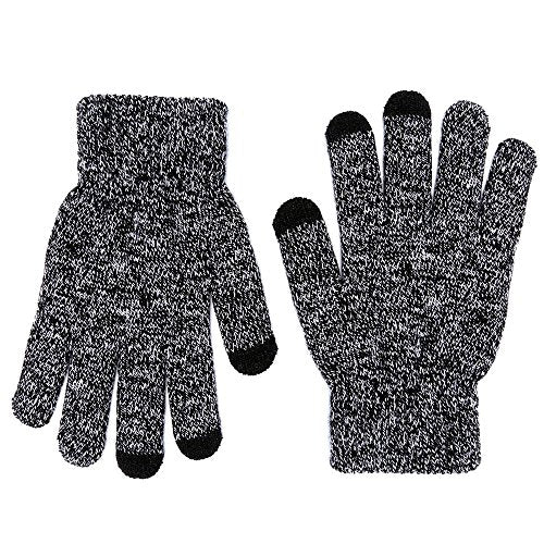 MPHABON Touch screen gloves winter men and women knitted warm gloves (Black and white)-GADGET-Amazon-Love My Husband Shop