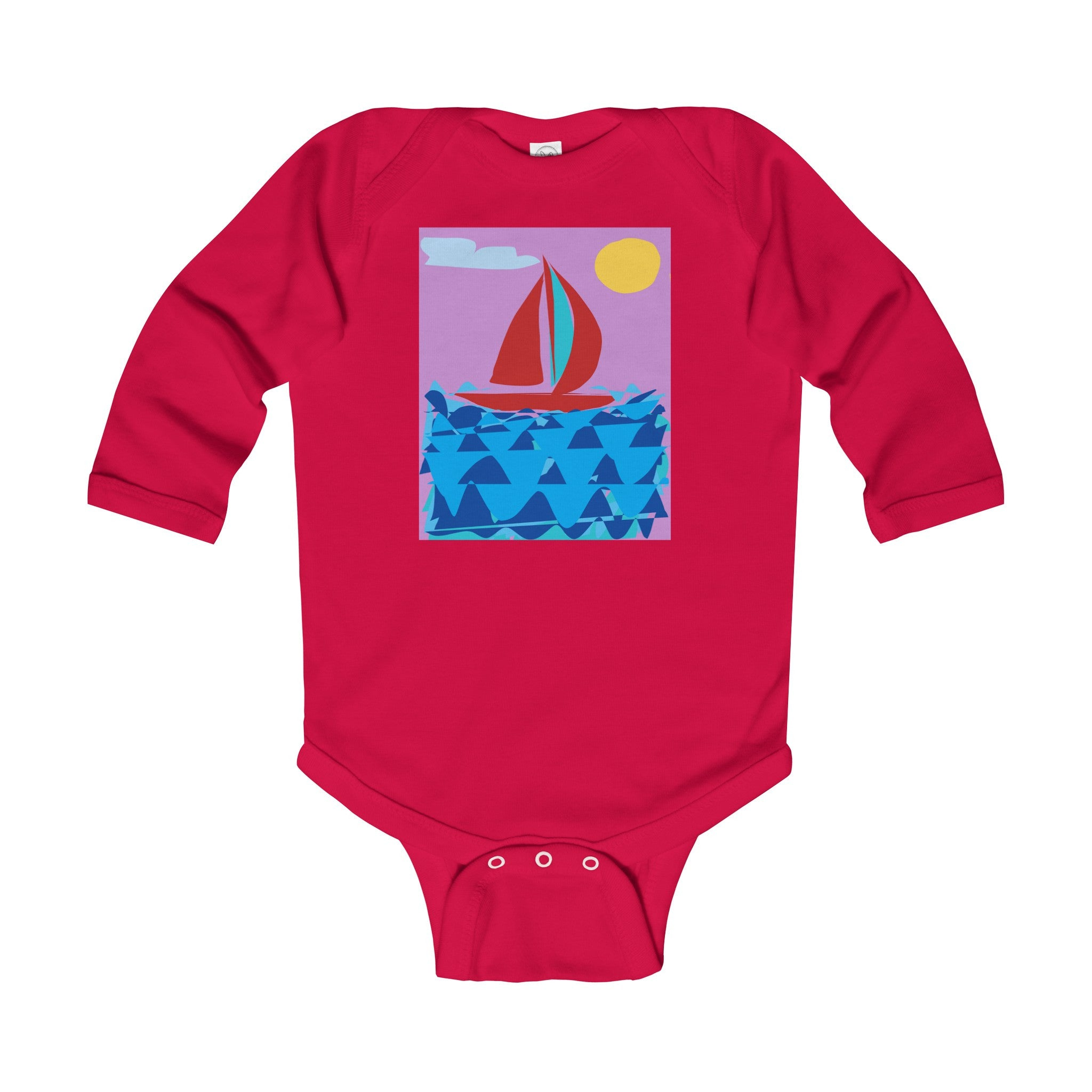 Infant Long Sleeve Bodysuit-Kids clothes-Printify-6-12M-Red-Love My Husband Shop