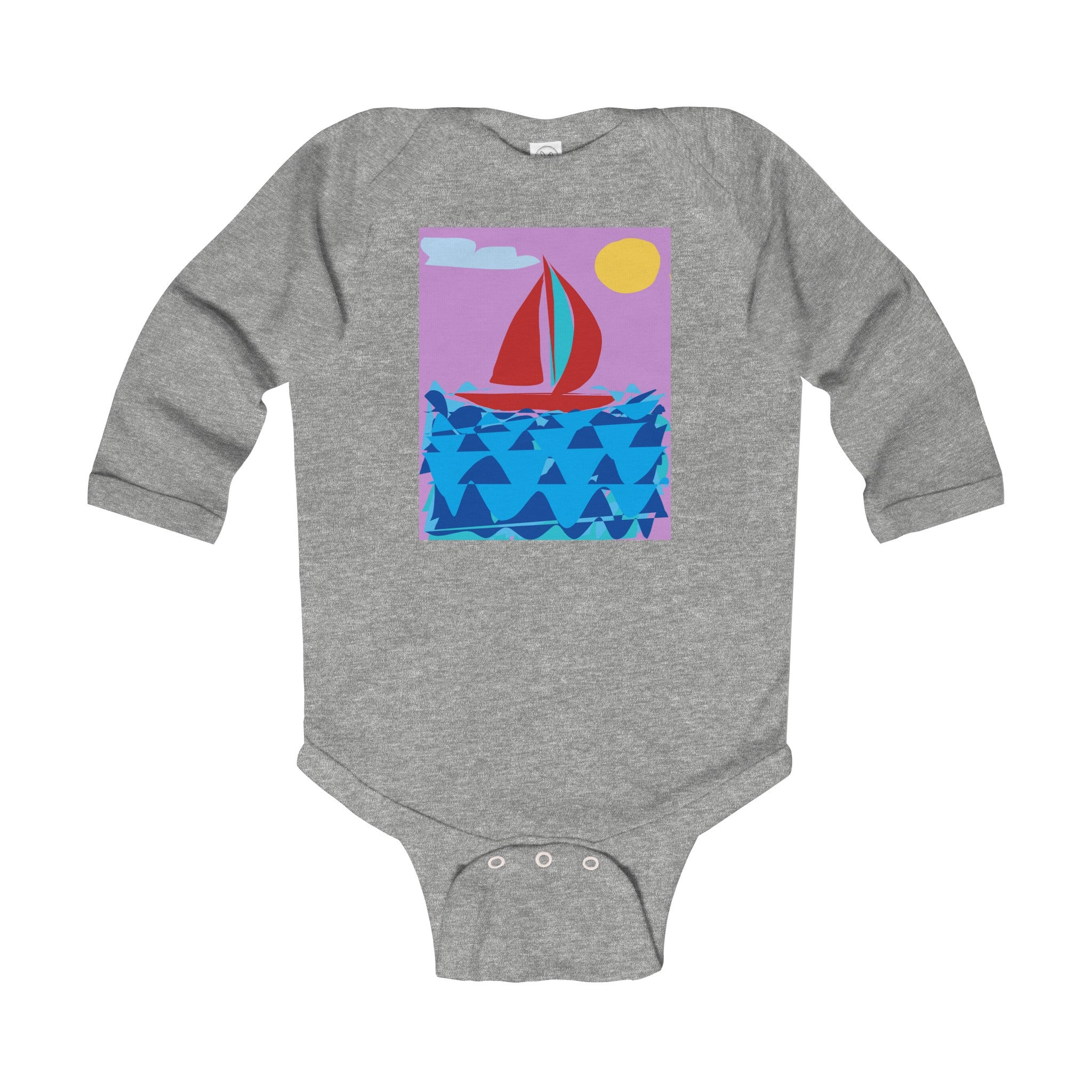 Infant Long Sleeve Bodysuit-Kids clothes-Printify-6-12M-Heather-Love My Husband Shop