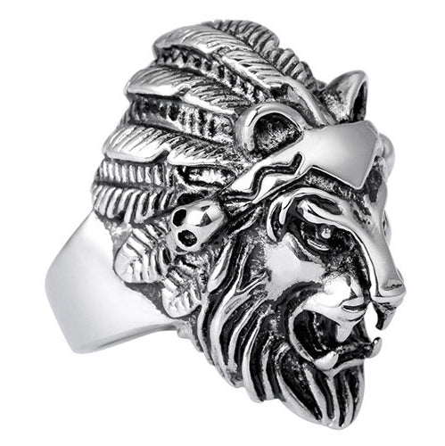Stainless Steel Lion Head Rings For Men. Punk Rock Male Ring. Retro Chunky.-ring-Love My Husband Shop-Love My Husband Shop