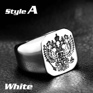 Beier Polished Stainless Steel Russian Signet Ring-ring-Men Fit Beyond 40-7-A style white-Love My Husband Shop