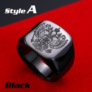 Beier Polished Stainless Steel Russian Signet Ring-ring-Men Fit Beyond 40-7-A style black-Love My Husband Shop