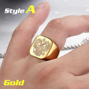 Rings for Men - Beier polished Stainless Steel double eagle-ring-Panoramic Art-7-A style gold-Love My Husband Shop
